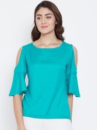 Aask Women Turquoise Color Cold Shoulder & Bell Sleeve Rayon Top