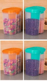 MOUNTHILLS Plastic 2 Section Storage Jar 1500ml Plastic Cereal Dispenser, Air Tight, Grocery Container, Fridge Container,Tea Coffee & Sugar Container, Spice Container (Multicolor, Pack Of 4)