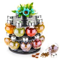 MOUNTHILLS Royal Premium Plastic Multipurpose 360° Dgree Revolving Plastic Spice Rack, Masala Rack, Condiment Set, 1 Piece Spice Set , SPICE RACK with 16 Piece jar's & Spice Set-120ml (Pack of 1, Clear)