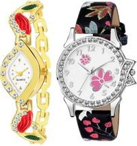 HRV White Peacock  And Multicolor Leather Women Watch