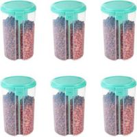 MOUNTHILLS 3 section OR 3 IN 1 1500 ml Plastic Air Tight, Grocery Container, Fridge Container,Tea Coffee & Sugar Container, Spice Container (Multicolor, Pack Of 6)