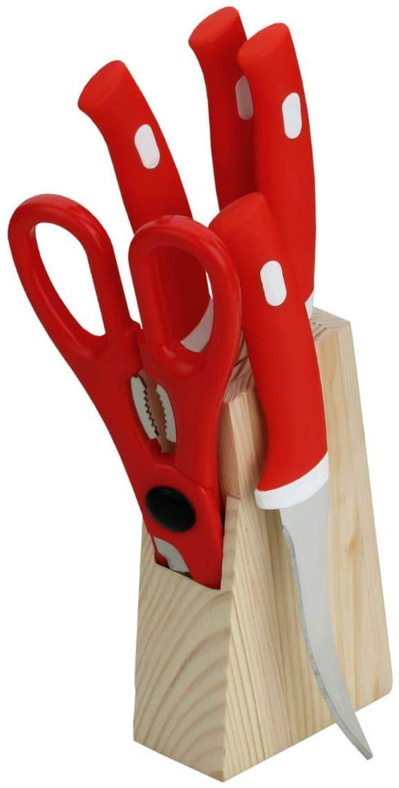 MOUNTHILLS Wood Kitchen Knife Set with Wooden Block and Scissors Knife Set with Wood Stand, Supreme Double Mould Plastic & Stainless Steel Kitchen Knife Set For Kitchen Tool (Red, Pack Of 1)