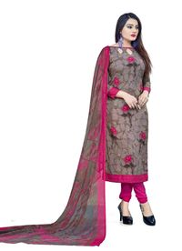 Venisa Exclusive Party Wear Leon Brown Color Printed Unstitched Dress Material With Beautiful Printed Dupatta