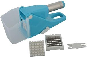 MOUNTHILLS Plastic & Stainless steel blade Potato Chipper with 2 Blades, Easy Home Made French Fries Chips Cutter, Salad Vegetable & Potato Chipper Potato Slicer (Blue, Pack Of 1)