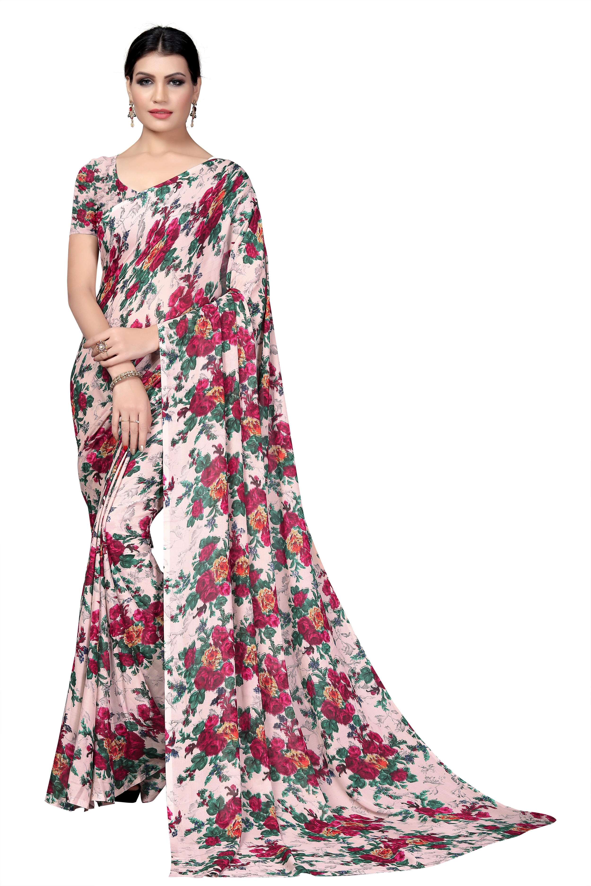 Mamta White Poly Georgette Printed Saree with Blouse