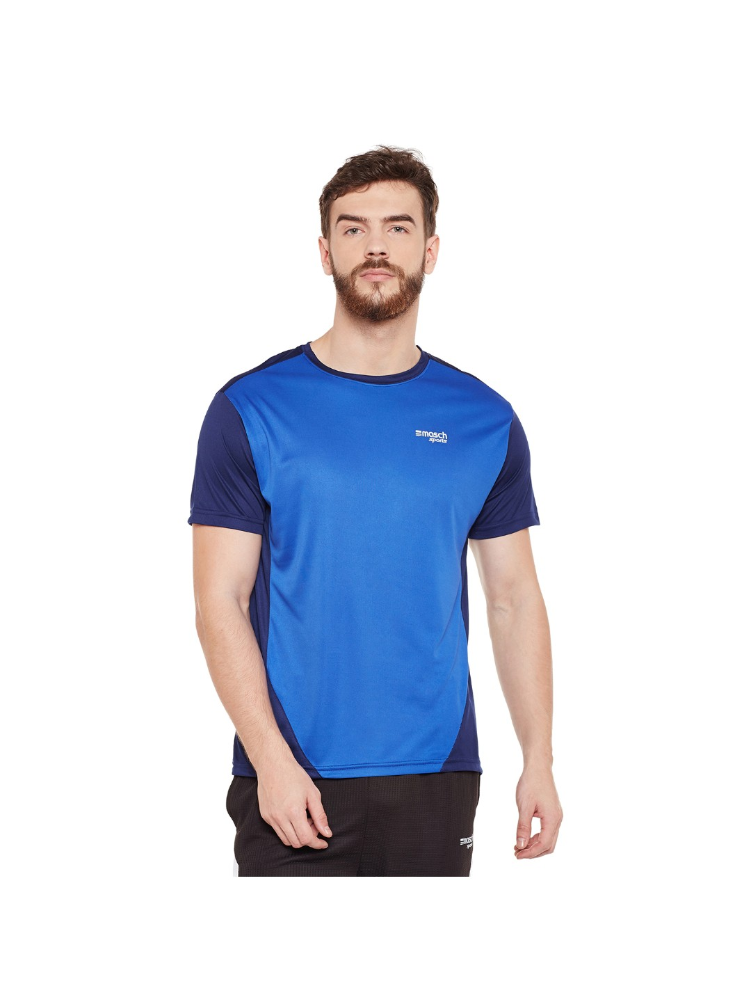 Masch Sports Blue Polyester Round Neck Men T-Shirt