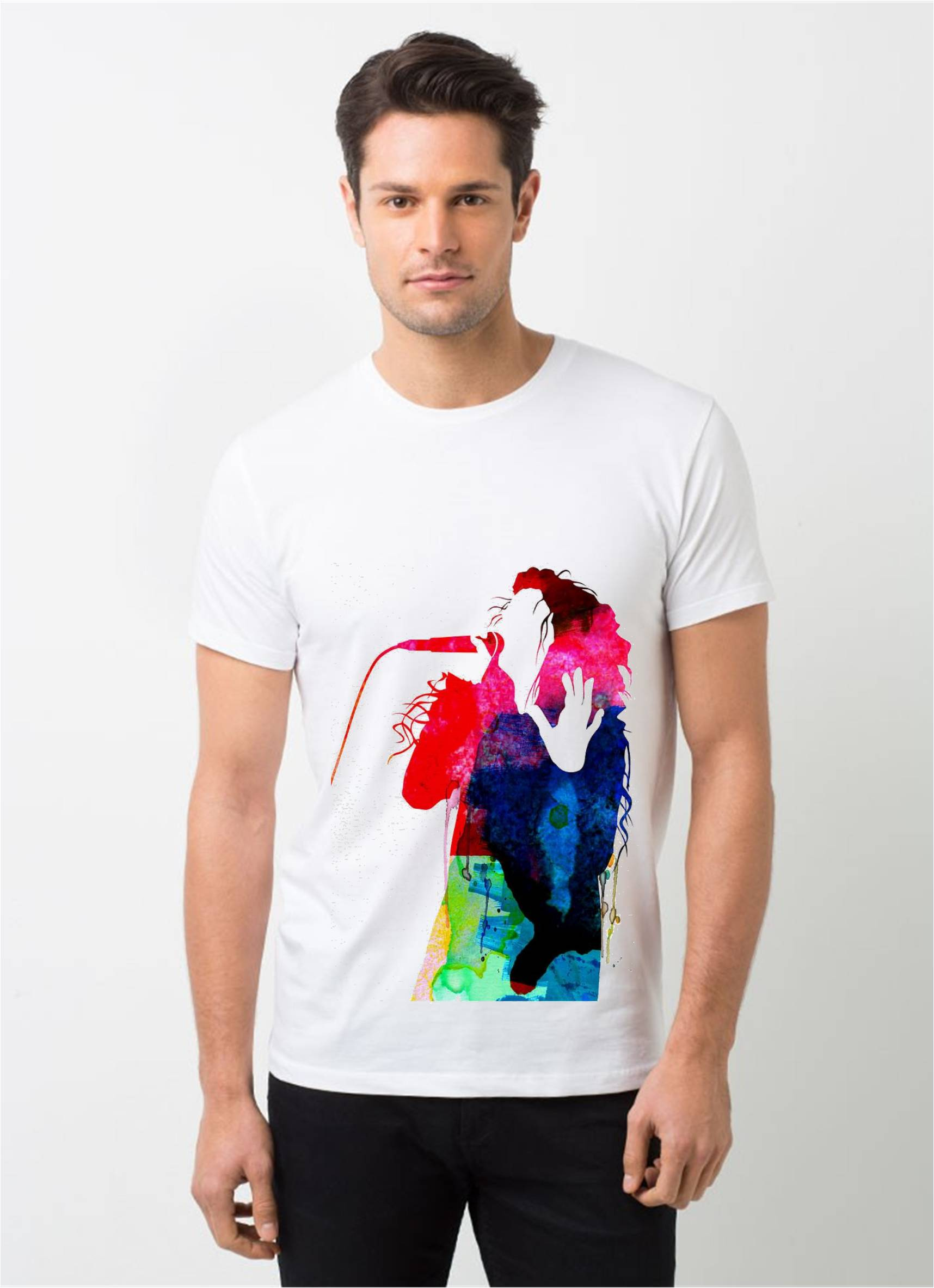 HamsaMART White Round Neck Printed T-Shirt For Men -T305