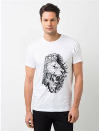 HamsaMART White Round Neck Printed T-Shirt For Men -T19