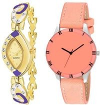 HRV Oval Gold And Cut Orange Leather Women Watch