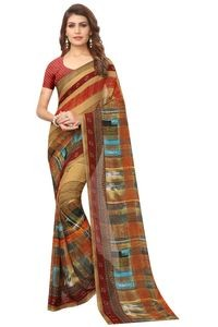 Mamta Multicolor Poly Georgette Printed Saree with Blouse