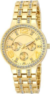 HRV Studded Gold Watch - For Women