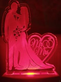 MOUNTHILLS Mr/Mrs Love couple Night Lamp with 7 Color Changing 9 cm (Multiolor, Pack Of 1)