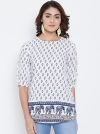 Aask Women White and Blue Color Printed Crepe Top