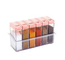MOUNTHILLS Plastic Multipurpose Seasoning Box, Seasoning Set, Spice Rack, Masala Rack, Condiment Set, 1 Piece Spice Set , Pepper Salt Spice Rack  with 6 Piece jar's & Spice Set-140ml (Pack of 1, Pink)