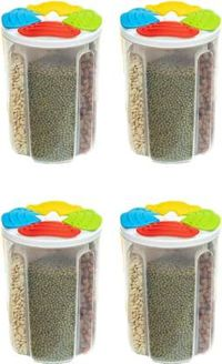 MOUNTHILLS Plastic 4 Section Storage Jar 1500ml Plastic Cereal Dispenser, Air Tight, Grocery Container, Fridge Container,Tea Coffee & Sugar Container, Spice Container (Multicolor, Pack Of 4)