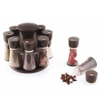 MOUNTHILLS Premium Plastic Multipurpose 360° Dgree Revolving Plastic Spice Rack, Masala Rack, Condiment Set, 1 Piece Spice Set , SPICE RACK with 8 Piece jar's & Spice Set-120ml (Pack of 1, Brown)