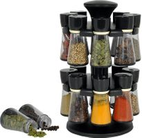 MOUNTHILLS Premium Plastic Multipurpose 360° Dgree Revolving Plastic Spice Rack, Masala Rack, Condiment Set, 1 Piece Spice Set , SPICE RACK with 16 Piece jar's & Spice Set-120ml (Pack of 1, Black)
