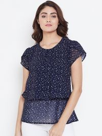Aask Women Navy Blue Color White Dot Printed Georgette Top
