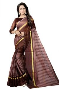 Mamta Brown Cotton Silk Woven Saree with Blouse