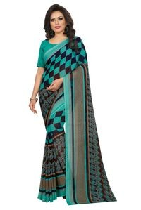 Mamta Light Green Poly Georgette Printed Saree with Blouse