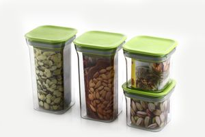 MOUNTHILLS Kit Kat Storage Jar 550ml & 1100ml Plastic Cereal Dispenser, Air Tight, Grocery Container, Fridge Container,Tea Coffee & Sugar Container, Spice Container (Green, Pack Of 4)