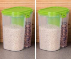 MOUNTHILLS Plastic 2 Section Storage Jar 1500ml Plastic Cereal Dispenser, Air Tight, Grocery Container, Fridge Container,Tea Coffee & Sugar Container, Spice Container (Green, Pack Of 2)