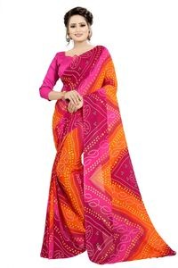Mamta Pink Poly Georgette Printed Saree with Blouse