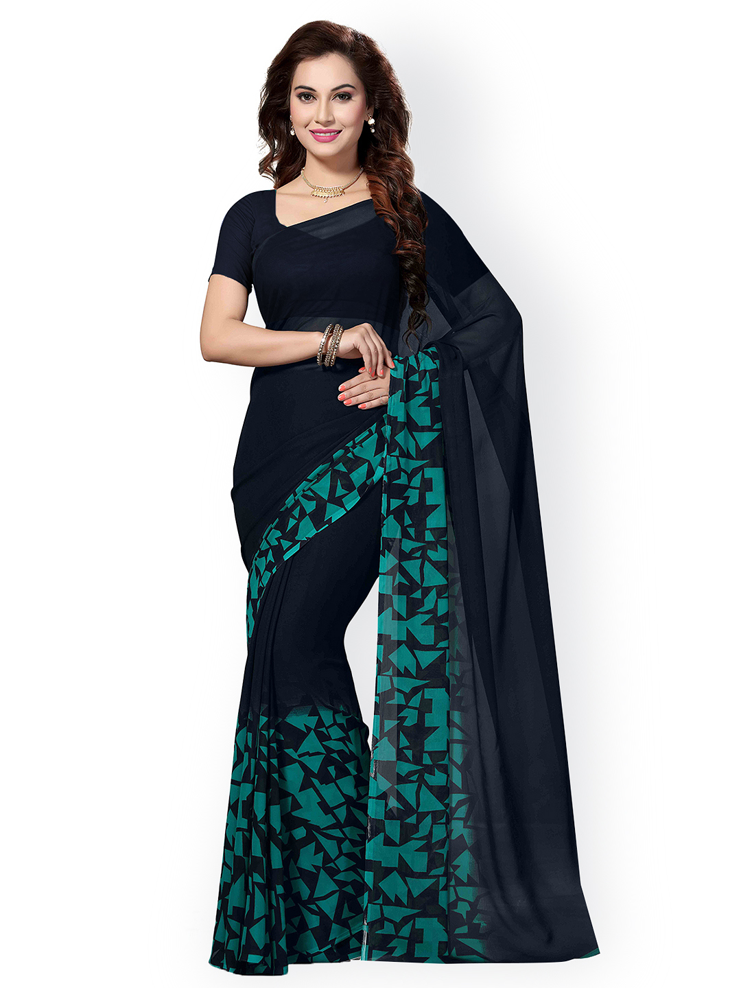 Mamta Green Poly Georgette Printed Saree with Blouse