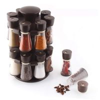 MOUNTHILLS Premium Plastic Multipurpose 360° Dgree Revolving Plastic Spice Rack, Masala Rack, Condiment Set, 1 Piece Spice Set , SPICE RACK with 16 Piece jar's & Spice Set-120ml (Pack of 1, Brown)