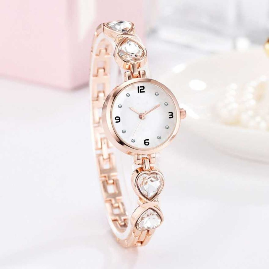 HRV White Dial Love Silver Heart Shape Stone Rose Gold  Women Wrist Watch