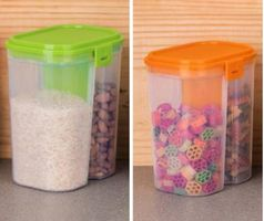 MOUNTHILLS Plastic 2 Section Storage Jar 1500ml Plastic Cereal Dispenser, Air Tight, Grocery Container, Fridge Container,Tea Coffee & Sugar Container, Spice Container (Multicolor, Pack Of 2)