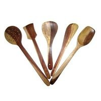 Set of 5 Wooden Kitchen Tool Set - Cooking Spoon Ladle