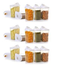 MOUNTHILLS Easy Flow Storage Jar 1500ml Plastic Cereal Dispenser, Air Tight, Grocery Container, Fridge Container,Tea Coffee & Sugar Container, Spice Container (Multicolor, Pack Of 18)