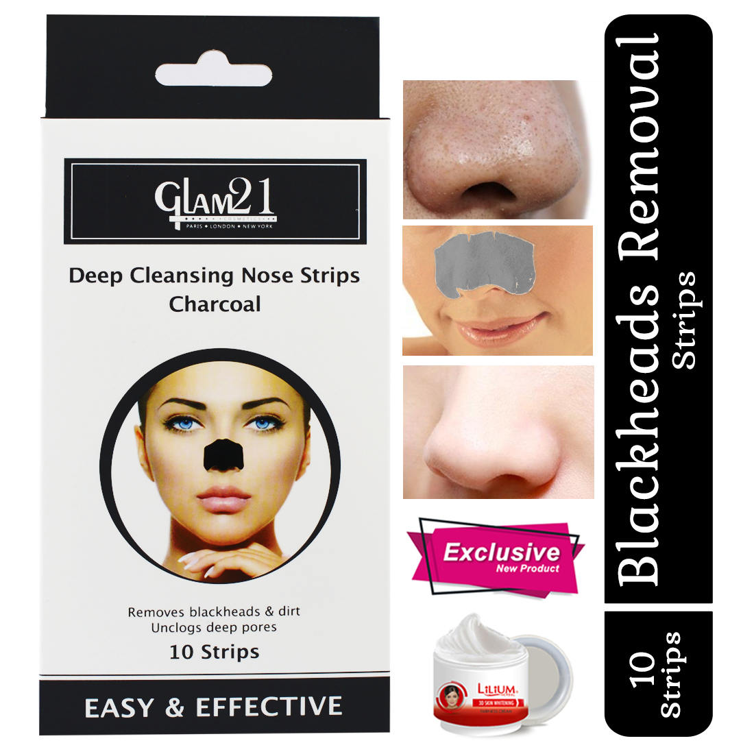 Glam21 Deep Cleansing Nose Strips With Skin Whitening Cream - Charcoal
