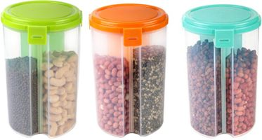 MOUNTHILLS 3 section OR 3 IN 1 1500 ml Plastic Air Tight, Grocery Container, Fridge Container,Tea Coffee & Sugar Container, Spice Container (Multicolor, Pack Of 3)
