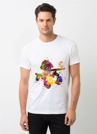 HamsaMART White Round Neck Printed T-Shirt For Men -T493
