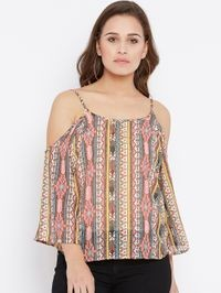 Aask Women's Beige and Multicolor Floral Printed A line Georgette Top