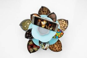 MOUNTHILLS 2 Layer Rotating Candy Box, 10 Compartments, 10 Grid Or 10 Section Flower Shape Rotating 360° Dgree Candy Box With Mobile Stand & Serving Tray Like Dry Fruit, Candy, Chocolate, Snacks Storage Box, Party Food, Diwali Chocolate, Sweet, Mukhavas Store Box (Multicolor, Pack Of 1)