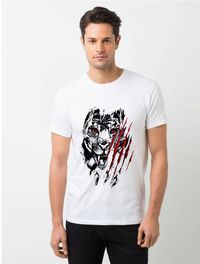 HamsaMART White Round Neck Printed T-Shirt For Men -T14