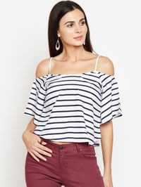 Aask Women's White and Navy Blue Color Stripe Printed Crepe Top