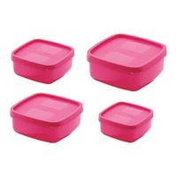 MOUNTHILLS Air Tight Container - 500 ml, 1350 ml, 250 ml, 750 ml Plastic Fridge Container, 4 Pcs combo packs (Pack of 4,Pink)