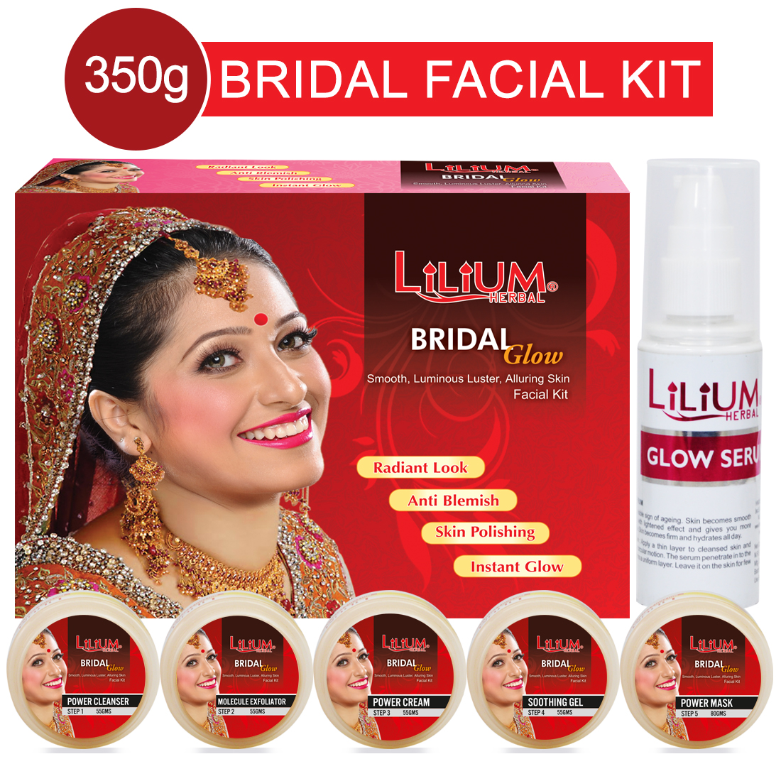 Lilium Bridel Glow Facial Kit 350gm With Wrist Watch Pack of 2