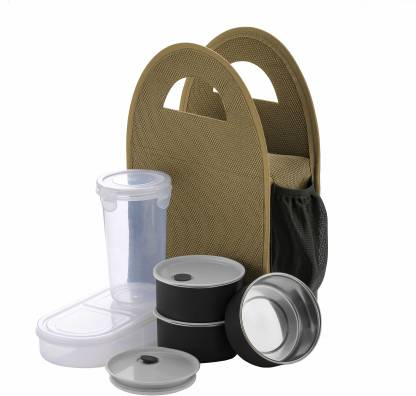 MOUNTHILLS Premium Quality Lunch Box with 3 Push-up Air Tight & Leakage Proof Containers, 1 Caserolles Set with Plastic Bottle, Lunch Boxes for Office with Bag 5 Containers Lunch Box 400 ml (Brown, Pack Of 1)
