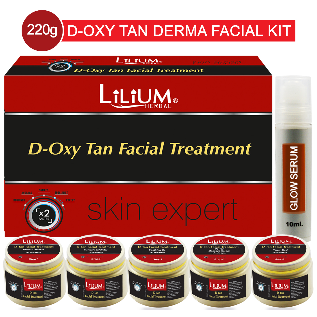 Lilium D-Oxy Tan Facial Treatment Skin Expert Facial Kit 220gm With 5in1 Face Massager & Skin Whitening Cream Pack of 3