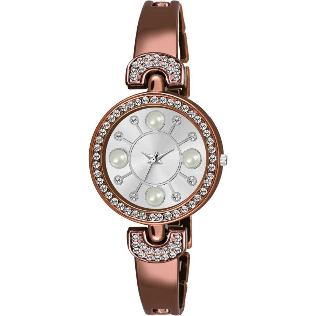 HRV Pearl And Diamond Dial Brown Women Watch