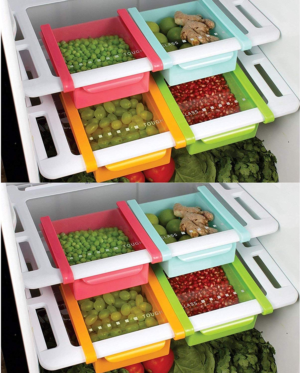 MOUNTHILLS Plastic Fridge Space Slide, Tray & Refrigerator Storage Rack Set (Multicolor, Pack of 8)