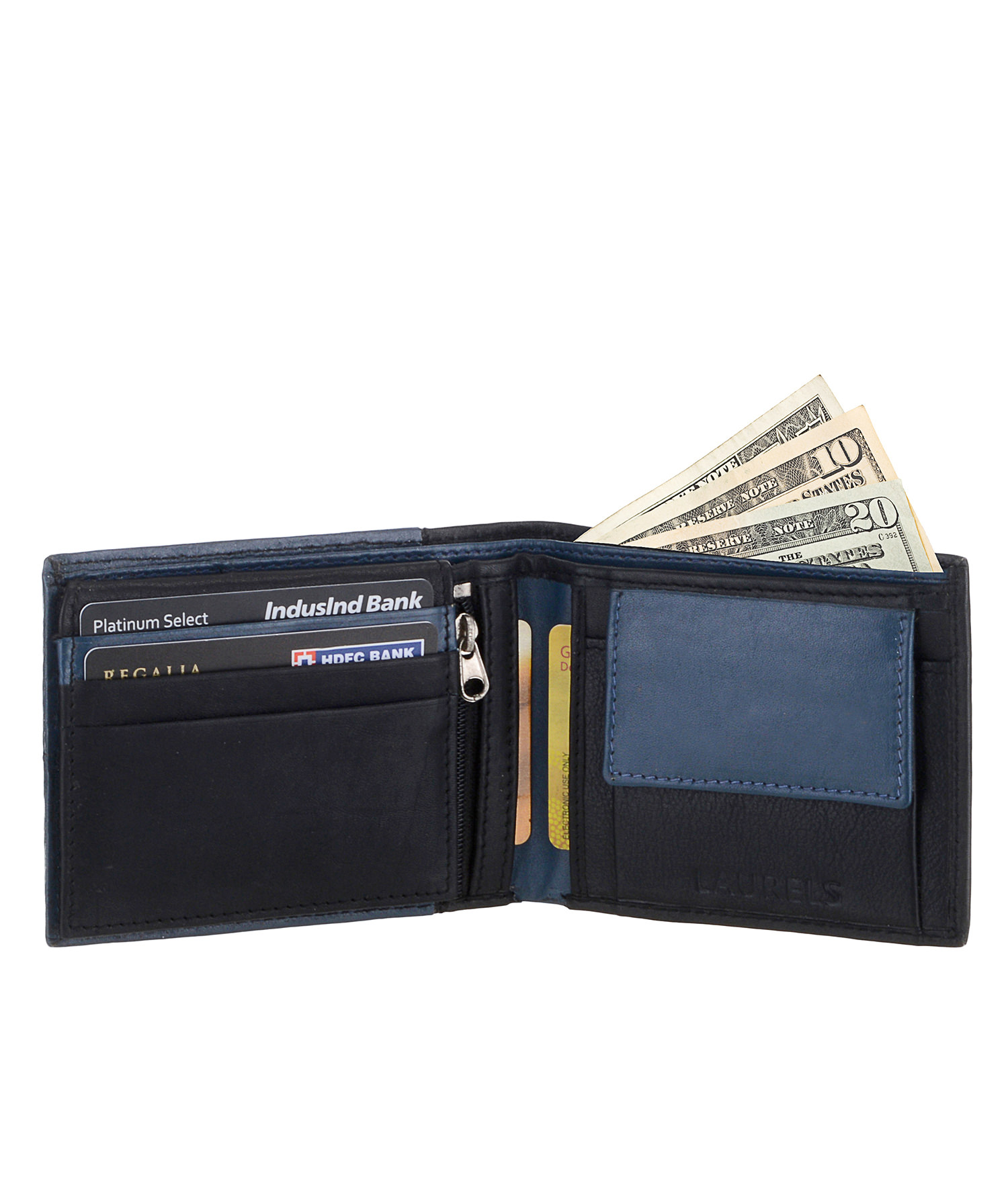Laurels Blue Leather Wallets For Men