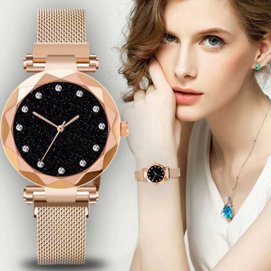 HRV Purple And Rose Gold Megnet Belt Analod Women Pack of 2 Watch