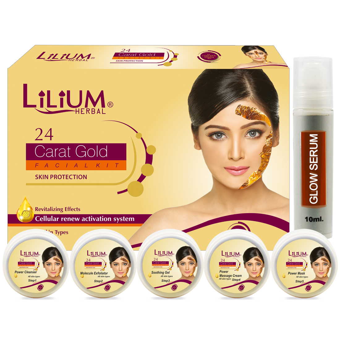 Lilium 24Carat Gold Facial Kit220gm With 5in1 Face Massager & Skin Whitening Cream Pack of 3