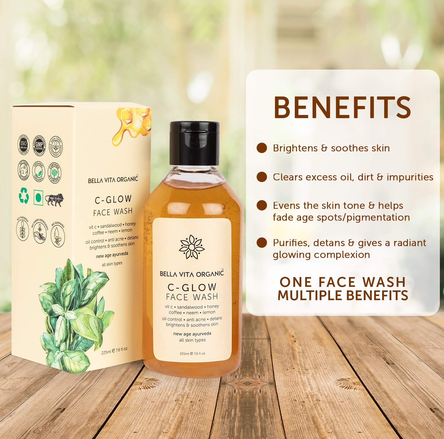 Bella Vita Organic Vitamin C Face Wash With Coffee Beans, Neem & Mint, Oil Control, Acne, Brightening & Glow, Men & Women Unisex